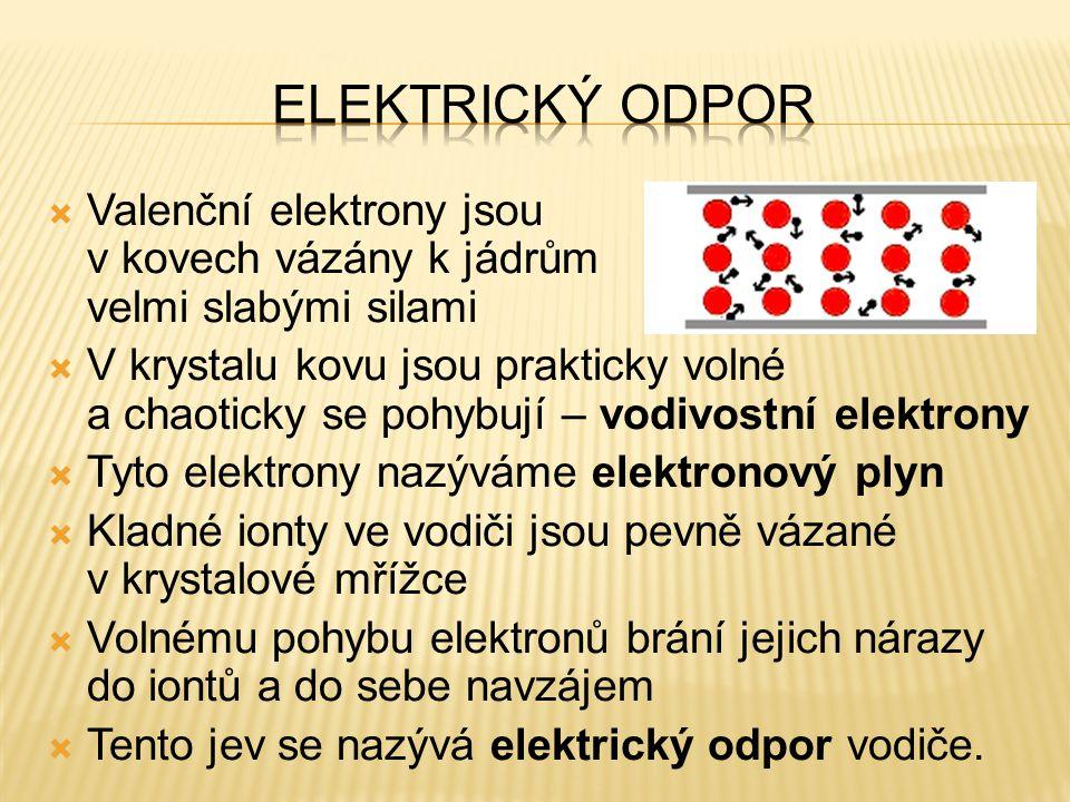  Valenční elektrony jsou v kovech vázány k jádrům velmi slabými silami  V krystalu kovu jsou prakticky volné a chaoticky se pohybují – vodivostní el