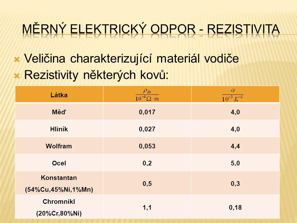  Veličina charakterizující materiál vodiče  Rezistivity některých kovů: Látka Měď0,0174,0 Hliník0,0274,0 Wolfram0,0534,4 Ocel0,25,0 Konstantan (54%C