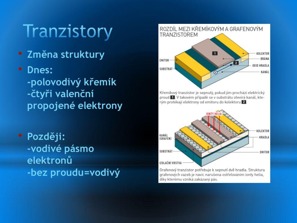 Změna struktury Dnes: -polovodivý křemík -čtyři valenční propojené elektrony Později: -vodivé pásmo elektronů -bez proudu=vodivý