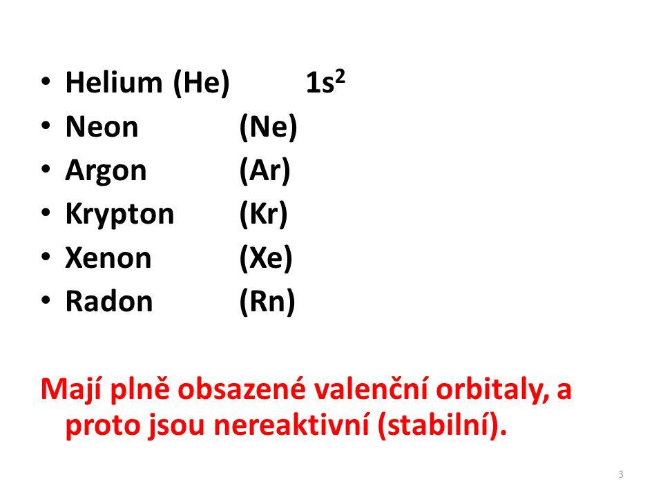 Helium(He)1s 2 Neon(Ne) Argon(Ar) Krypton(Kr) Xenon(Xe) Radon(Rn) Mají plně obsazené valenční orbitaly, a proto jsou nereaktivní (stabilní). 3