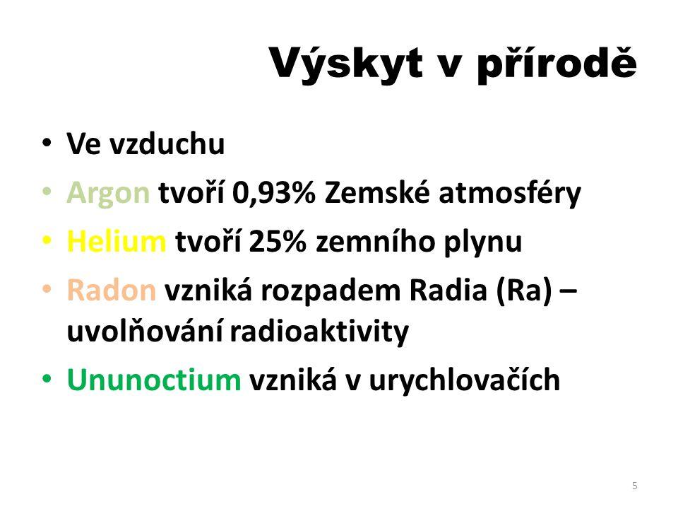 Výskyt v přírodě Ve vzduchu Argon tvoří 0,93% Zemské atmosféry Helium tvoří 25% zemního plynu Radon vzniká rozpadem Radia (Ra) – uvolňování radioaktiv