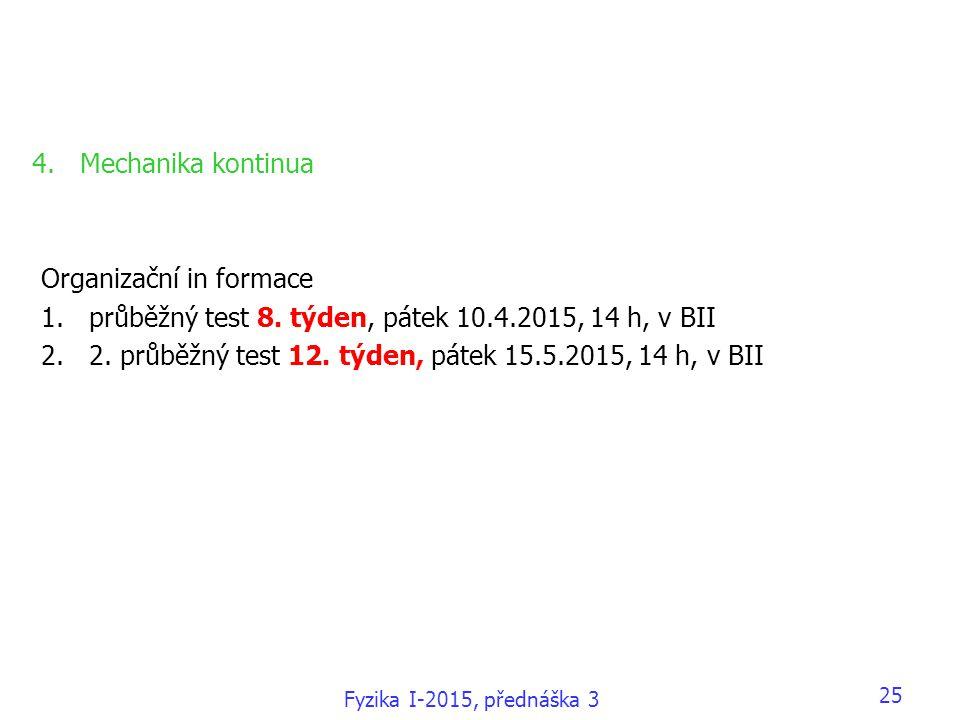 Fyzika I-2015, přednáška 3 25 4.Mechanika kontinua Organizační in formace 1.průběžný test 8. týden, pátek 10.4.2015, 14 h, v BII 2.2. průběžný test 12