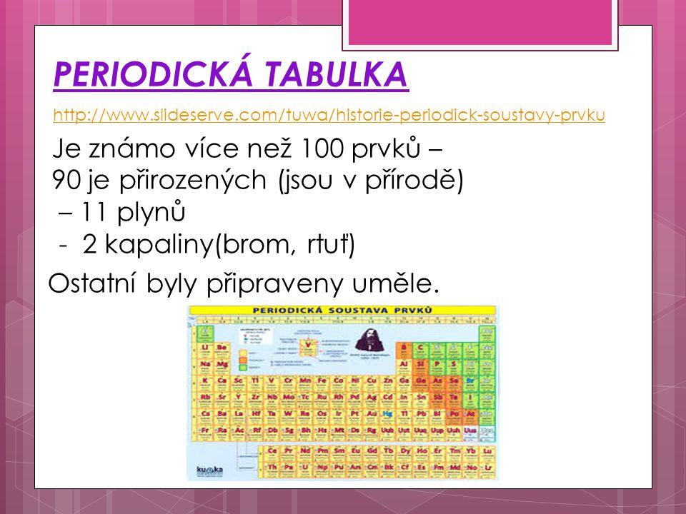 PERIODICKÁ TABULKA http://www.slideserve.com/tuwa/historie-periodick-soustavy-prvku Je známo více než 100 prvků – 90 je přirozených (jsou v přírodě) –