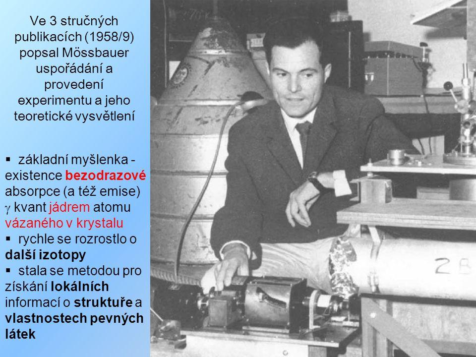  1958 publikace o rezonanční absorpci 191 Ir při teplotě kapalného dusíku → 1961 (!) Nobelova cena za fyziku v r.