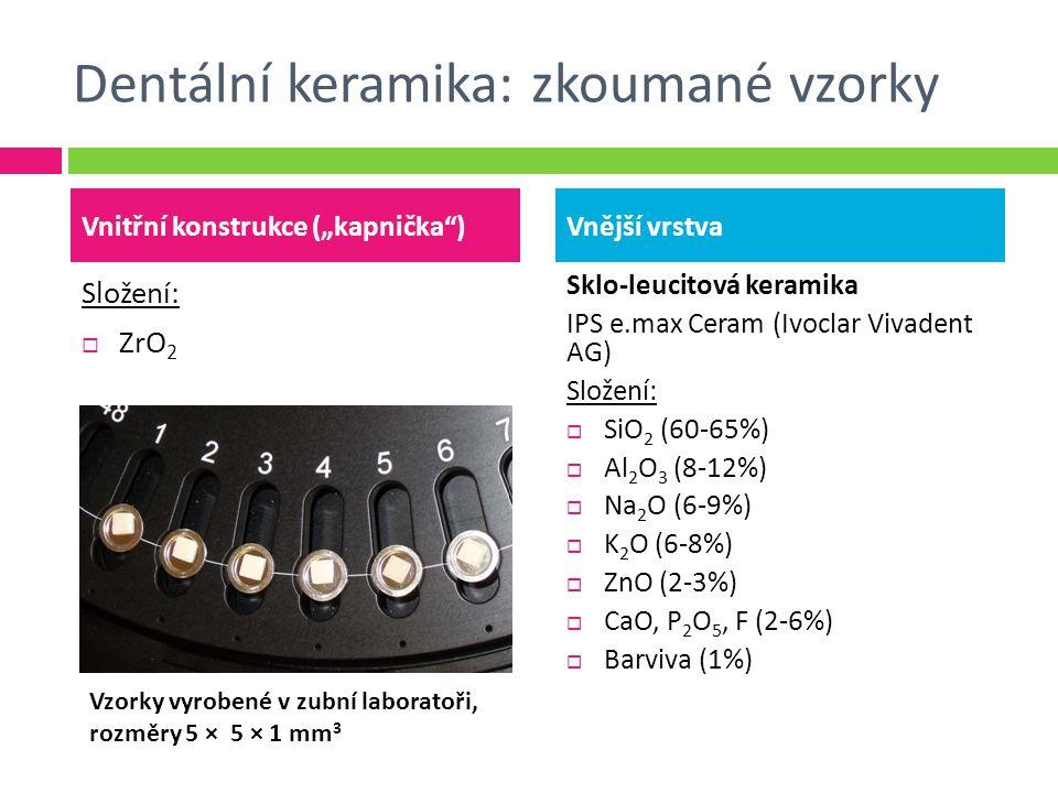 "Dentální keramika: zkoumané vzorky Složení:  ZrO 2 Sklo-leucitová keramika IPS e.max Ceram (Ivoclar Vivadent AG) Složení:  SiO 2 (60-65%)  Al 2 O 3 (8-12%)  Na 2 O (6-9%)  K 2 O (6-8%)  ZnO (2-3%)  CaO, P 2 O 5, F (2-6%)  Barviva (1%) Vnitřní konstrukce (""kapnička )Vnější vrstva Vzorky vyrobené v zubní laboratoři, rozměry 5 × 5 × 1 mm 3"