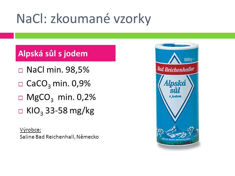 NaCl: zkoumané vzorky  NaCl min.98,5%  CaCO 3 min.