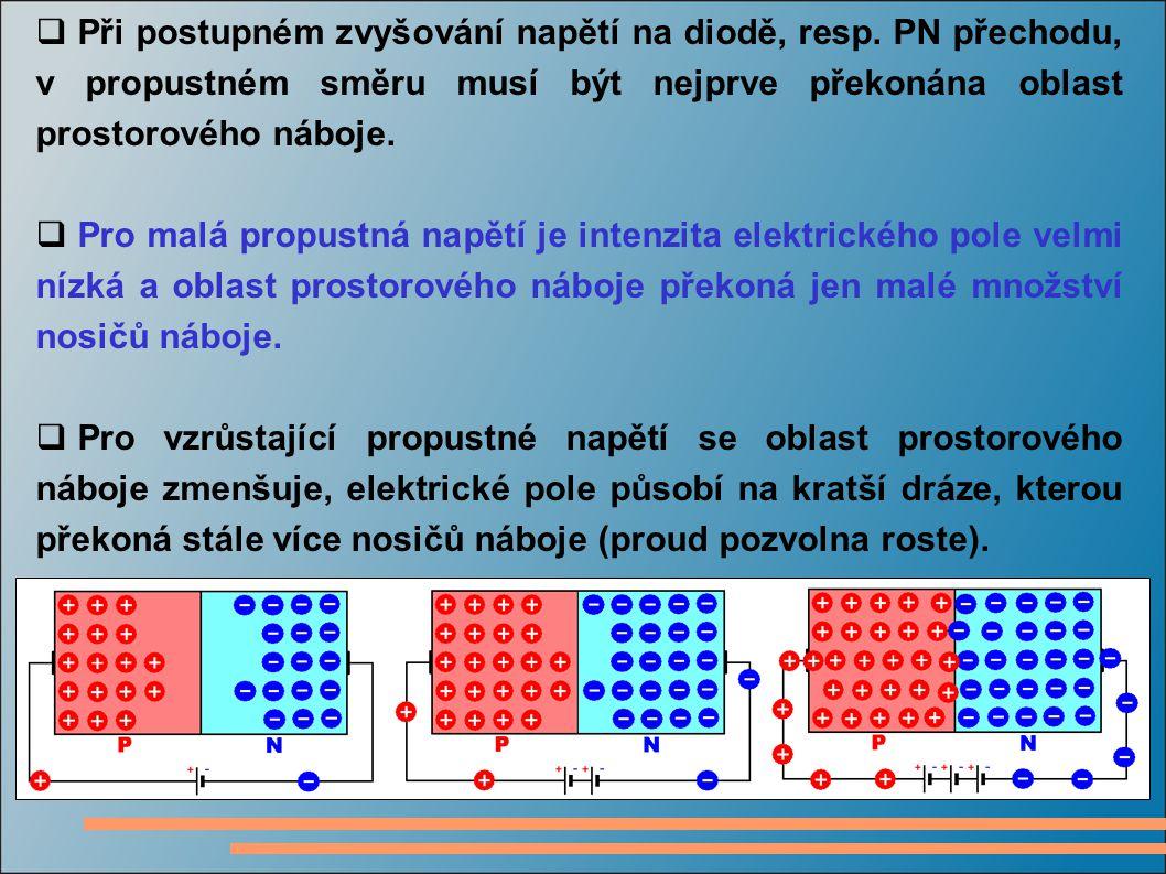  Při postupném zvyšování napětí na diodě, resp. PN přechodu, v propustném směru musí být nejprve překonána oblast prostorového náboje.  Pro malá pro