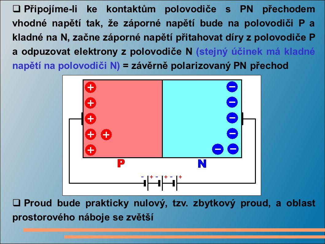 Připojíme-li ke kontaktům polovodiče s PN přechodem vhodné napětí tak, že záporné napětí bude na polovodiči P a kladné na N, začne záporné napětí př