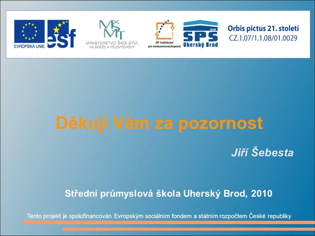 Děkuji Vám za pozornost Jiří Šebesta Tento projekt je spolufinancován Evropským sociálním fondem a státním rozpočtem České republiky Střední průmyslov