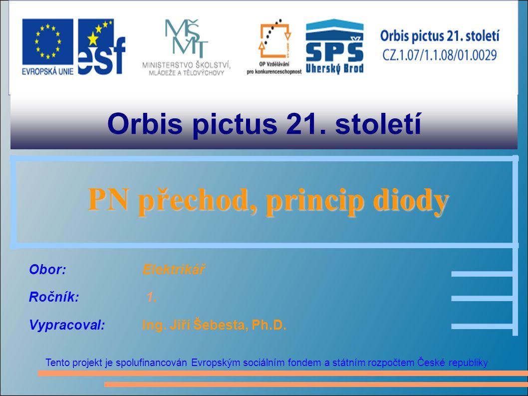Orbis pictus 21. století Tento projekt je spolufinancován Evropským sociálním fondem a státním rozpočtem České republiky PN přechod, princip diody PN