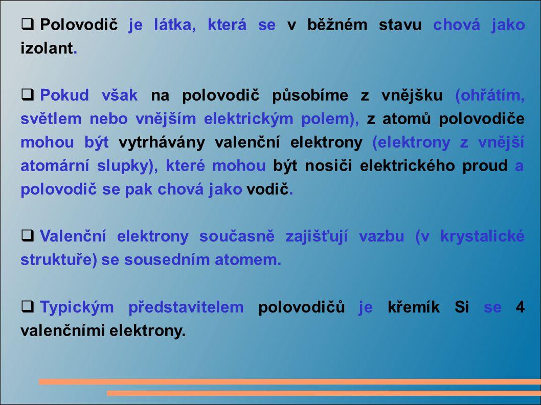  Polovodič je látka, která se v běžném stavu chová jako izolant.  Pokud však na polovodič působíme z vnějšku (ohřátím, světlem nebo vnějším elektric