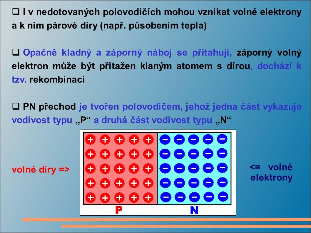  I v nedotovaných polovodičích mohou vznikat volné elektrony a k nim párové díry (např. působením tepla)  Opačně kladný a záporný náboj se přitahují