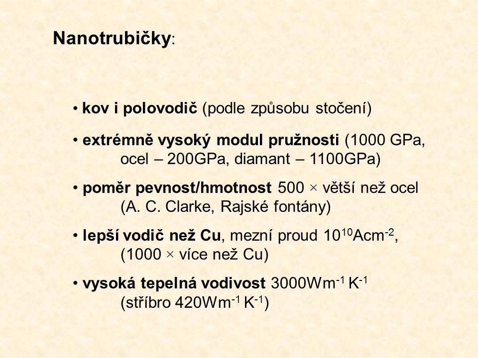Nanotrubičky : kov i polovodič (podle způsobu stočení) extrémně vysoký modul pružnosti (1000 GPa, ocel – 200GPa, diamant – 1100GPa) poměr pevnost/hmotnost 500 × větší než ocel (A.