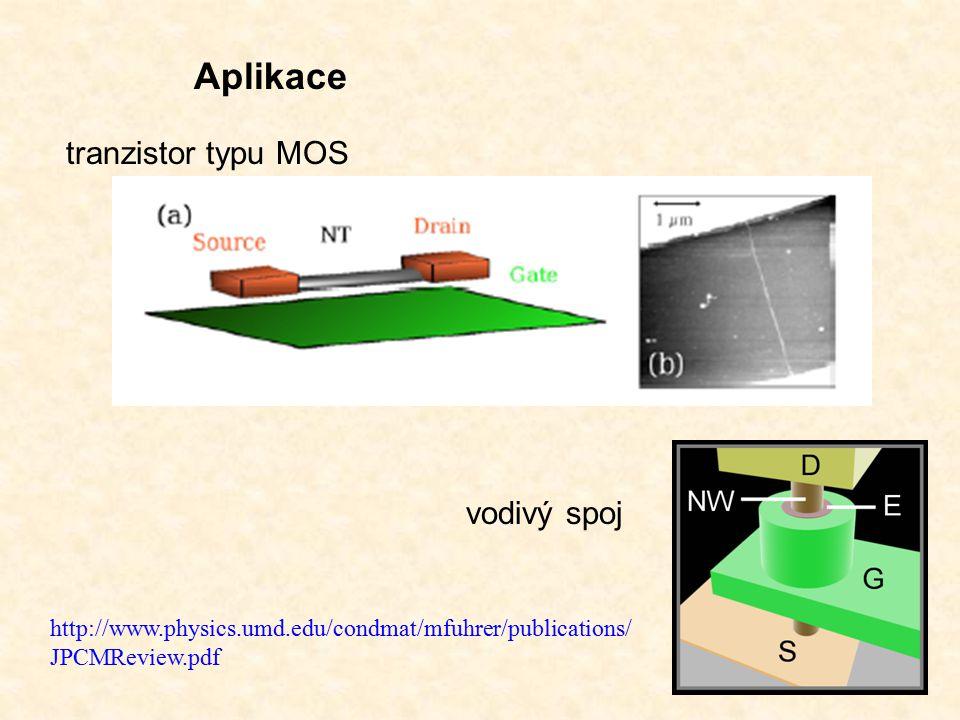 tranzistor typu MOS vodivý spoj Aplikace http://www.physics.umd.edu/condmat/mfuhrer/publications/ JPCMReview.pdf