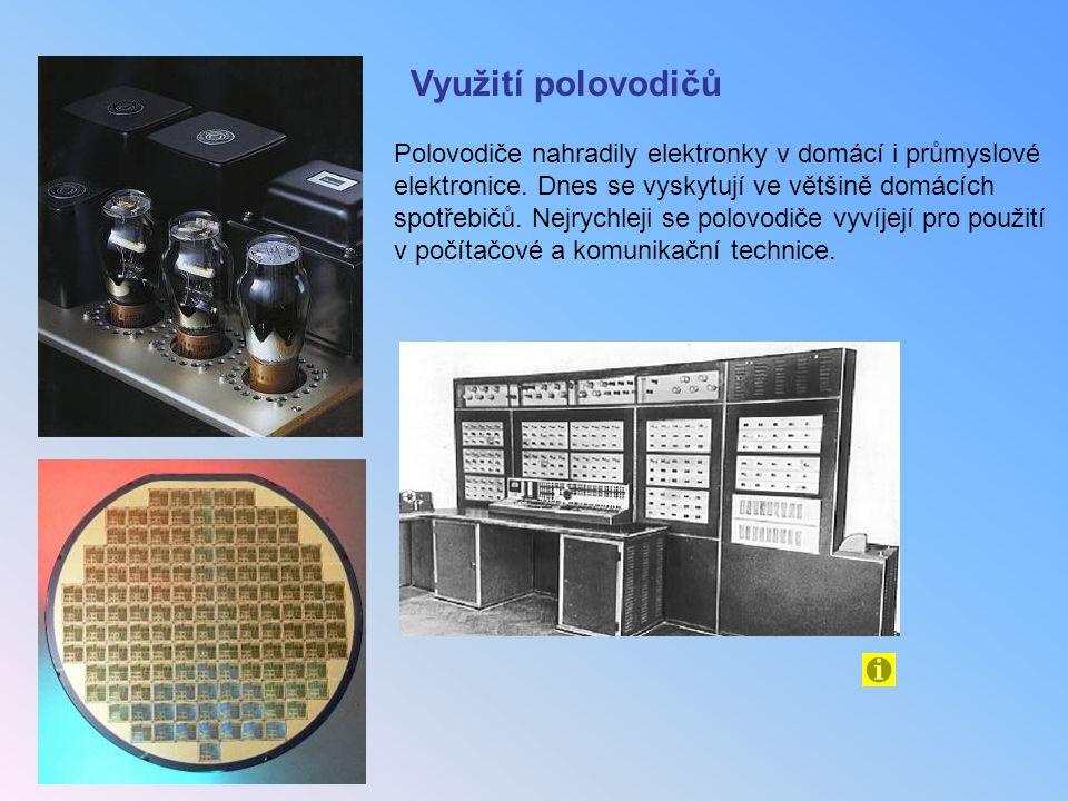 Využití polovodičů Polovodiče nahradily elektronky v domácí i průmyslové elektronice. Dnes se vyskytují ve většině domácích spotřebičů. Nejrychleji se