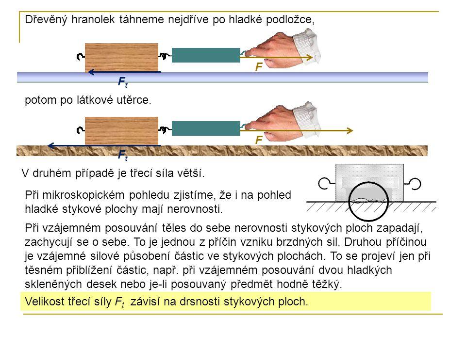 F Dřevěný hranolek táhneme nejdříve po hladké podložce, FtFt F FtFt potom po látkové utěrce. V druhém případě je třecí síla větší. Při mikroskopickém