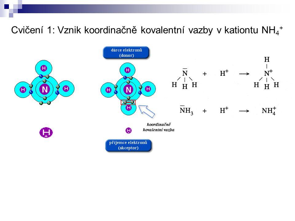Cvičení 1: Vznik koordinačně kovalentní vazby v kationtu NH 4 +