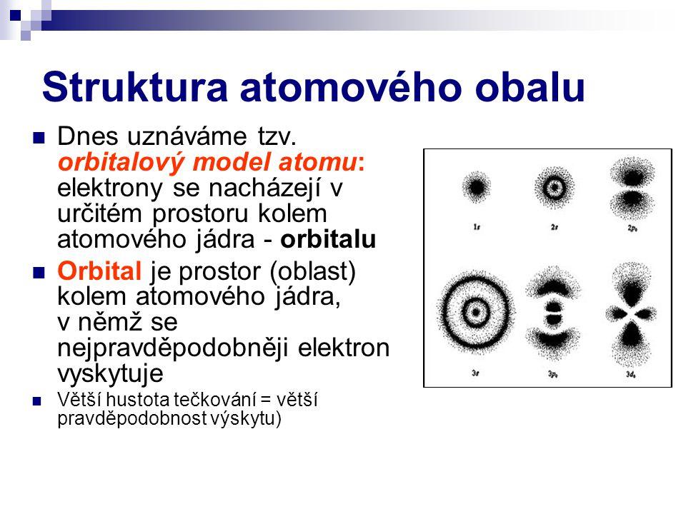 Struktura atomového obalu Dnes uznáváme tzv. orbitalový model atomu: elektrony se nacházejí v určitém prostoru kolem atomového jádra - orbitalu Orbita