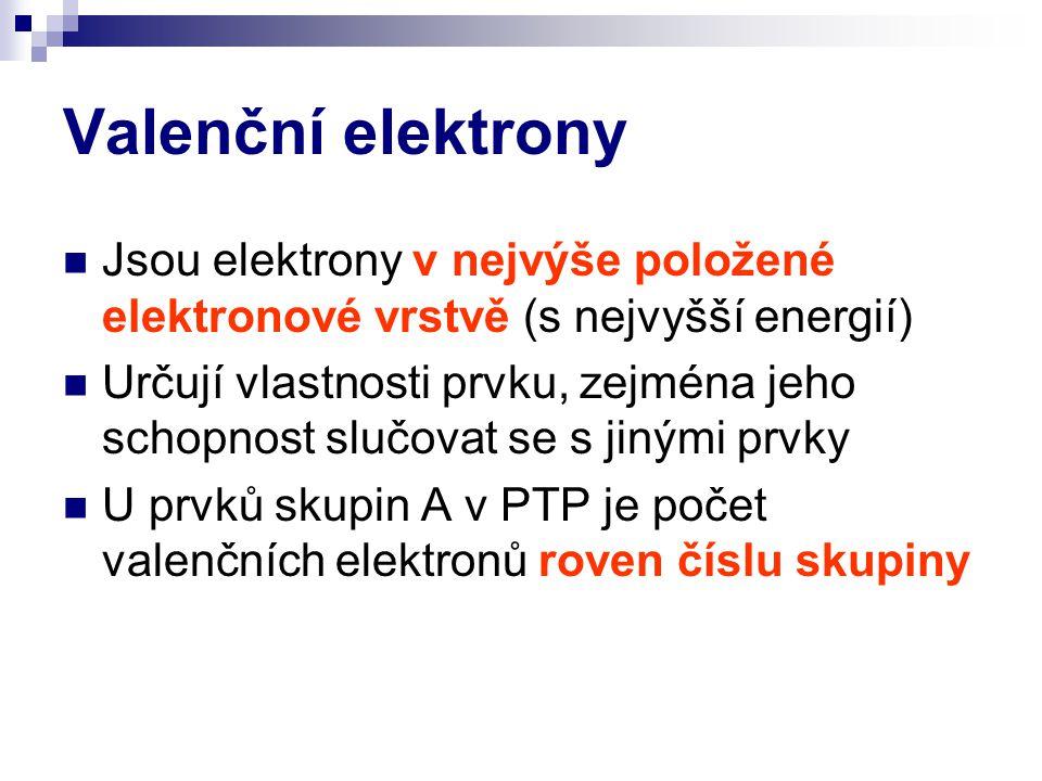 Valenční elektrony Jsou elektrony v nejvýše položené elektronové vrstvě (s nejvyšší energií) Určují vlastnosti prvku, zejména jeho schopnost slučovat