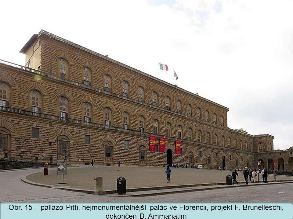 Střední škola Oselce Obr. 15 – pallazo Pitti, nejmonumentálnější palác ve Florencii, projekt F.