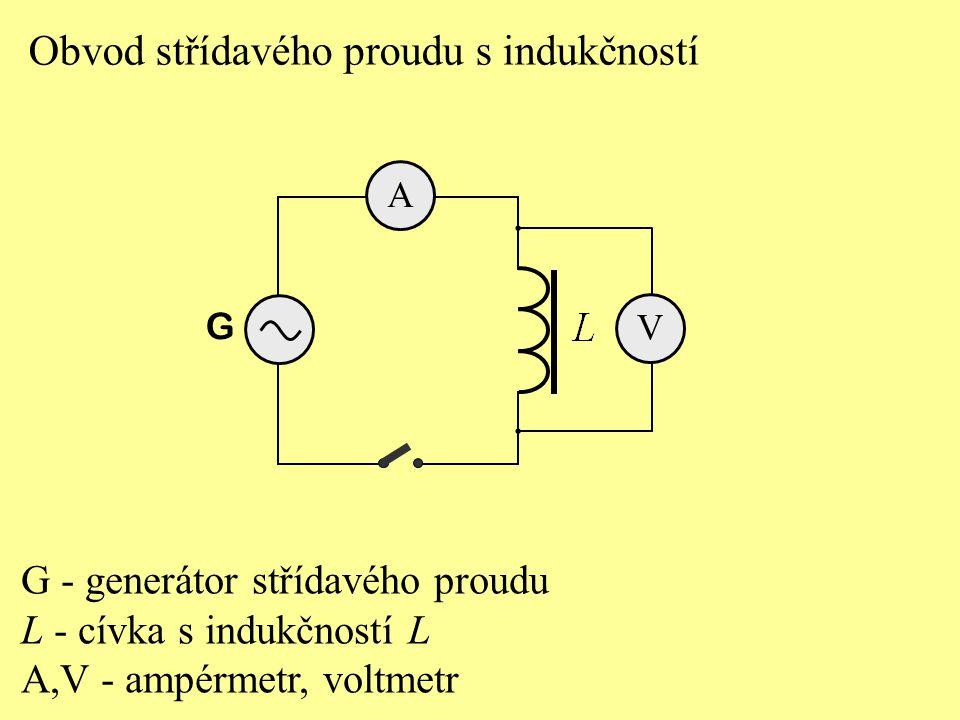 Obvod střídavého proudu s indukčností G - generátor střídavého proudu L - cívka s indukčností L A,V - ampérmetr, voltmetr A G V