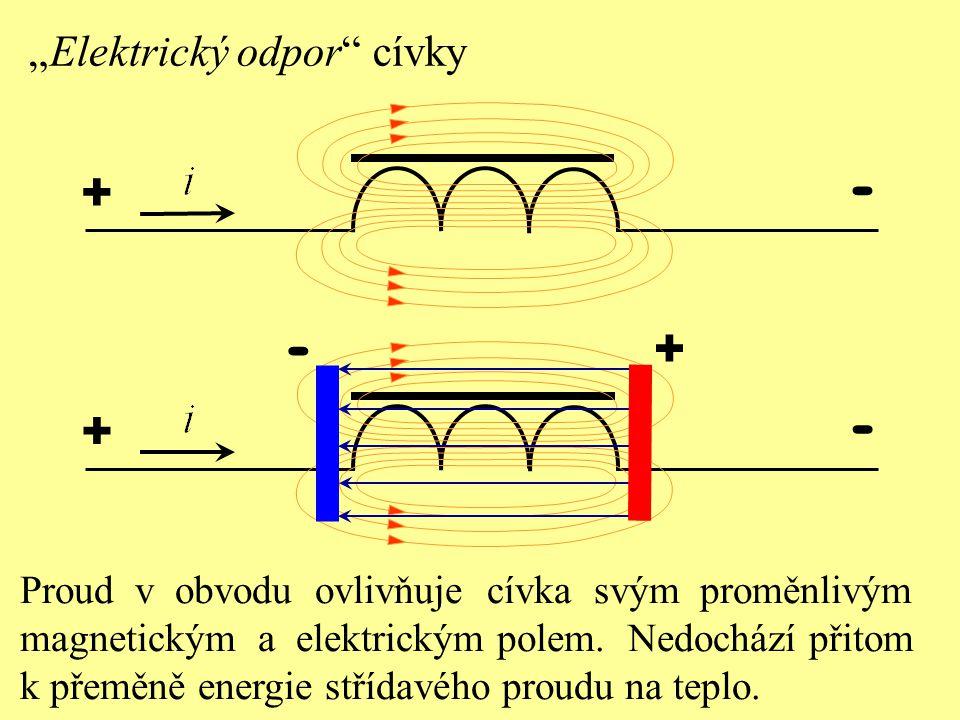 Osciloskopický průběh napětí a proudu Indukčnost cívky v obvodu střídavého proudu způsobuje, že proud dosáhne amplitudu později než napětí.