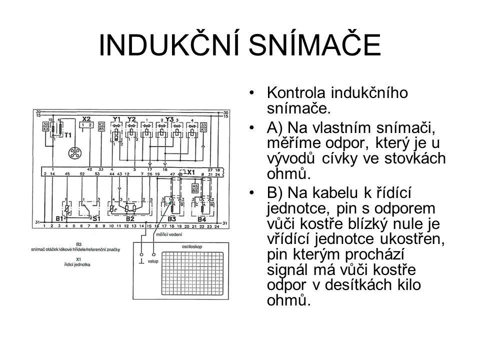 INDUKČNÍ SNÍMAČE Vlastní měření pak provádíme pomocí osciloskopu, kdy měřící hrot přiložíme na pin, kterým prochází signál, kostřící svorku osciloskopu na mínus akumulátoru.