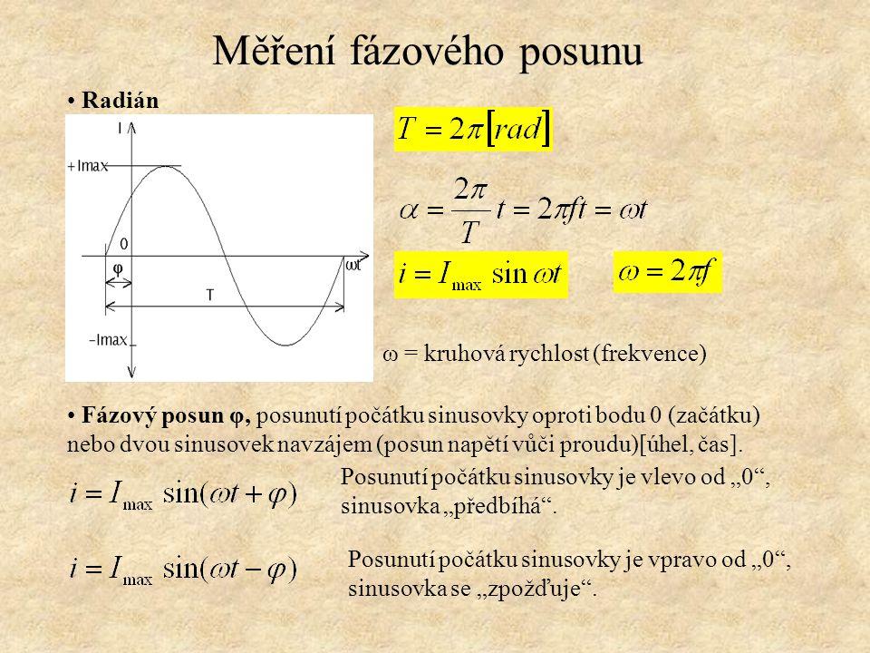 Chování ideálního rezistoru ve střídavém obvodu Měření fázového posunu Fázor proudu a napětí jsou ve stejné fázi, φ=0 Rezistance neposouvá fázi, jedná se o činnou složku impedance
