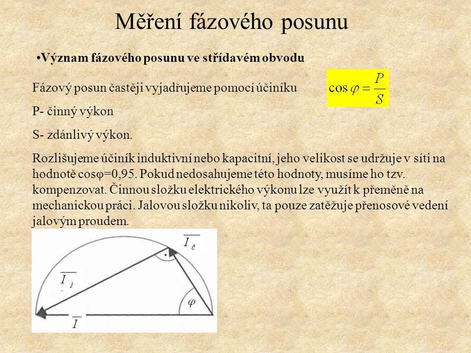 Pomoci osciloskopu Měření fázového posunu 1.