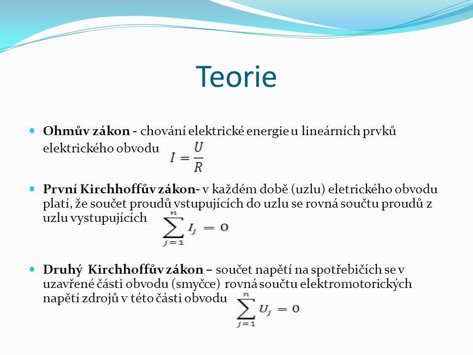 Teorie Ohmův zákon - chování elektrické energie u lineárních prvků elektrického obvodu První Kirchhoffův zákon- v každém době (uzlu) eletrického obvod
