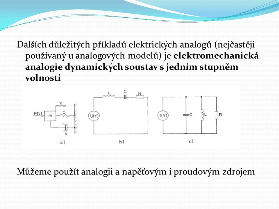 Dalších důležitých příkladů elektrických analogů (nejčastěji používaný u analogových modelů) je elektromechanická analogie dynamických soustav s jední
