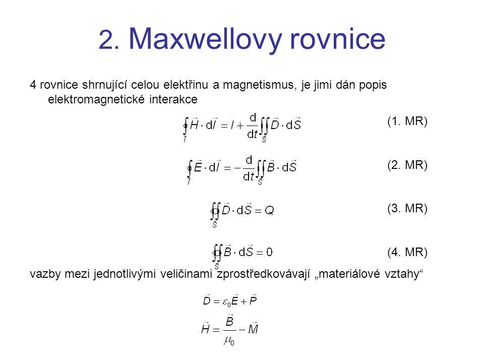 2.Maxwellovy rovnice Fyzikální interpretace Maxwellových rovnic 1.