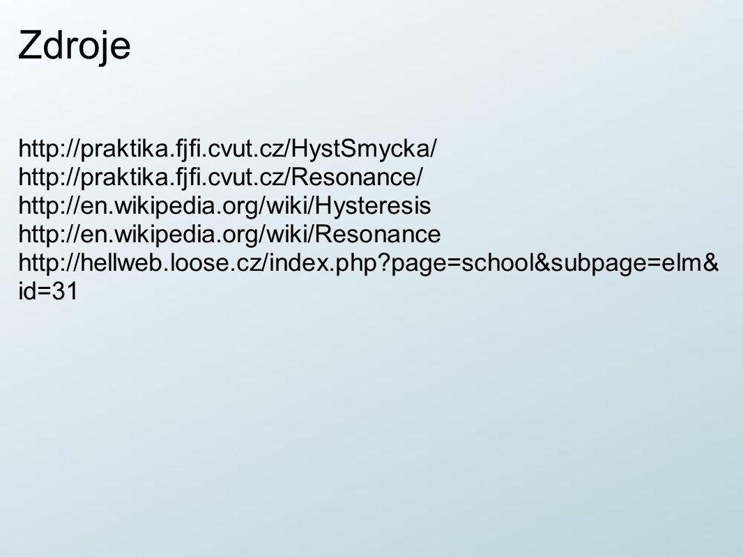 Zdroje http://praktika.fjfi.cvut.cz/HystSmycka/ http://praktika.fjfi.cvut.cz/Resonance/ http://en.wikipedia.org/wiki/Hysteresis http://en.wikipedia.or