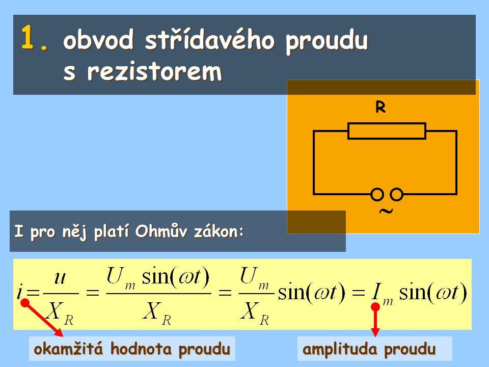  R I pro něj platí Ohmův zákon: 1. obvod střídavého proudu s rezistorem amplituda proudu okamžitá hodnota proudu