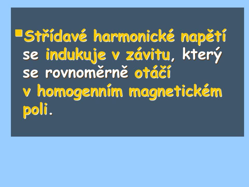  Střídavé harmonické napětí se indukuje v závitu, který se rovnoměrně otáčí v homogenním magnetickém poli.