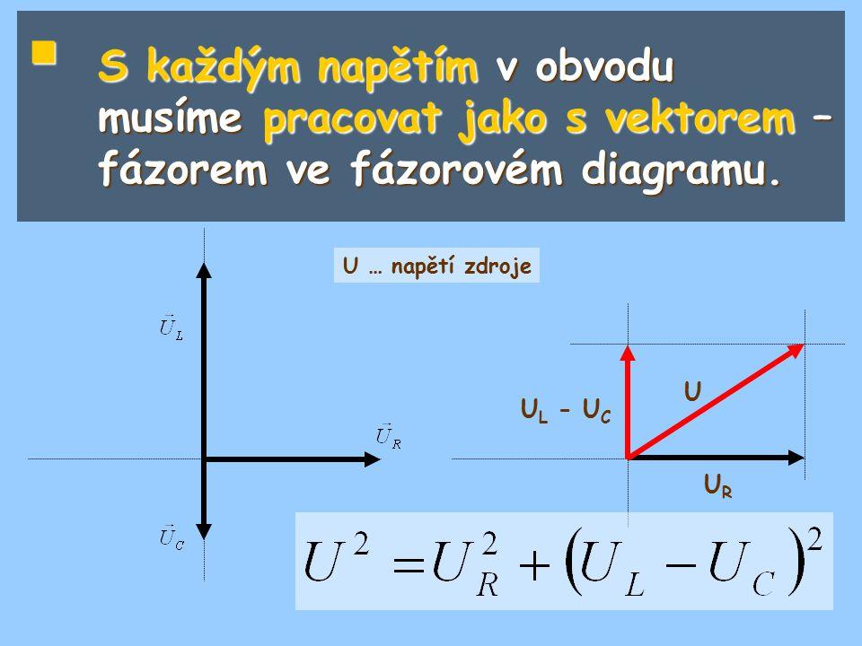  S každým napětím v obvodu musíme pracovat jako s vektorem – fázorem ve fázorovém diagramu. U L - U C URUR U U … napětí zdroje