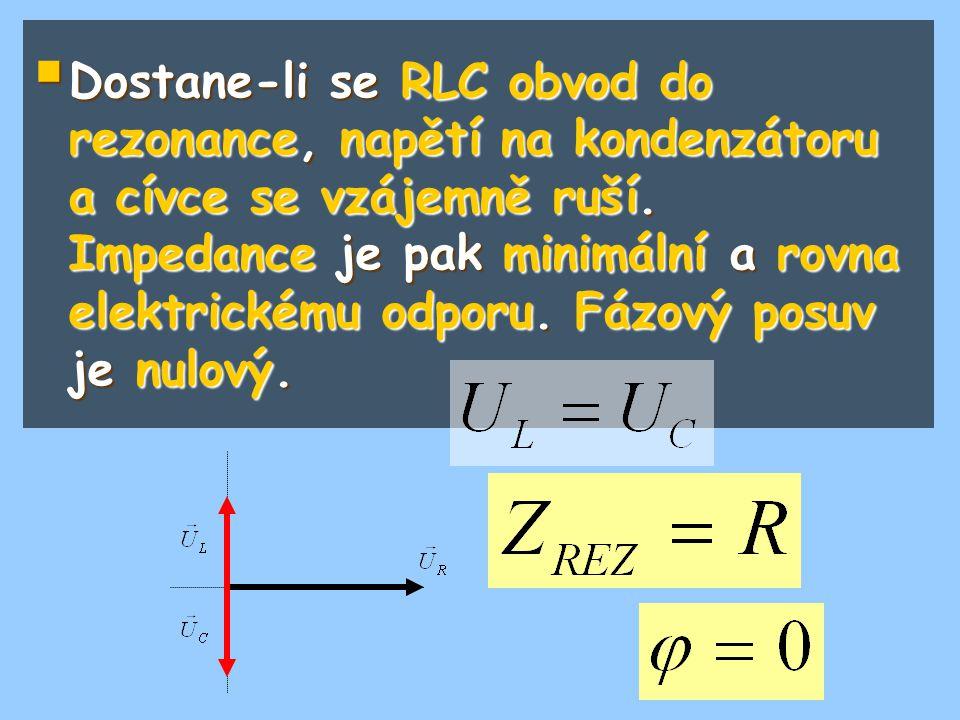  Dostane-li se RLC obvod do rezonance, napětí na kondenzátoru a cívce se vzájemně ruší. Impedance je pak minimální a rovna elektrickému odporu. Fázov
