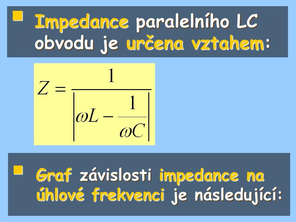  Impedance paralelního LC obvodu je určena vztahem:  Graf závislosti impedance na úhlové frekvenci je následující: