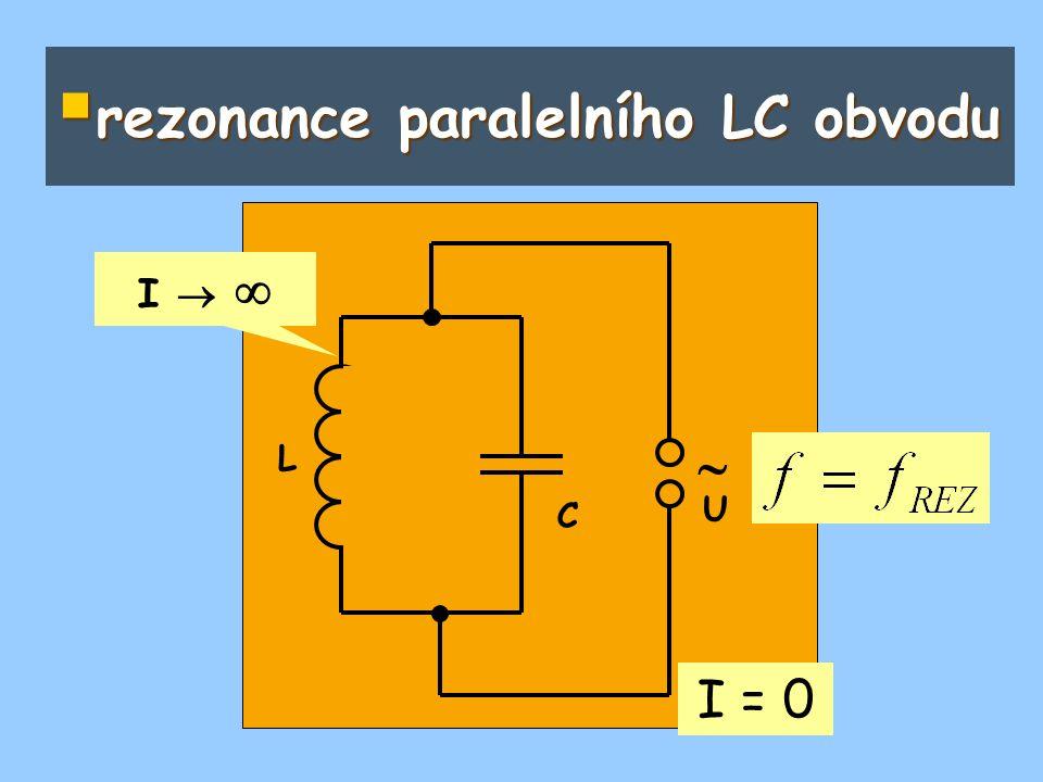  rezonance paralelního LC obvodu  L C U I = 0 I  