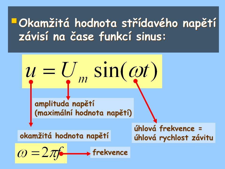  Okamžitá hodnota střídavého napětí závisí na čase funkcí sinus: okamžitá hodnota napětí amplituda napětí (maximální hodnota napětí) úhlová frekvence
