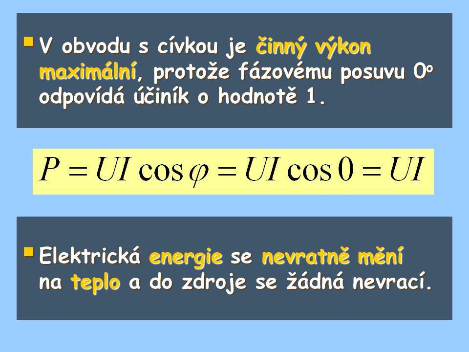  V obvodu s cívkou je činný výkon maximální, protože fázovému posuvu 0 o odpovídá účiník o hodnotě 1.  Elektrická energie se nevratně mění na teplo