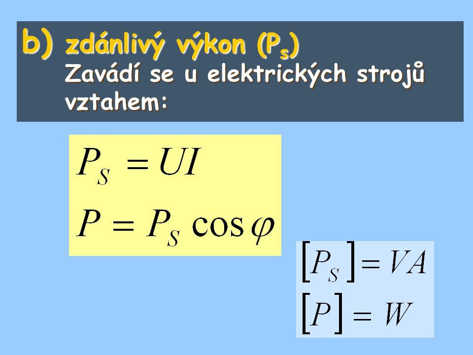 b) zdánlivý výkon (P s ) Zavádí se u elektrických strojů vztahem: