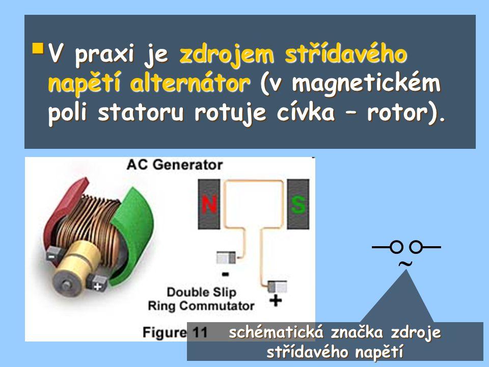  V praxi je zdrojem střídavého napětí alternátor (v magnetickém poli statoru rotuje cívka – rotor).  schématická značka zdroje střídavého napětí