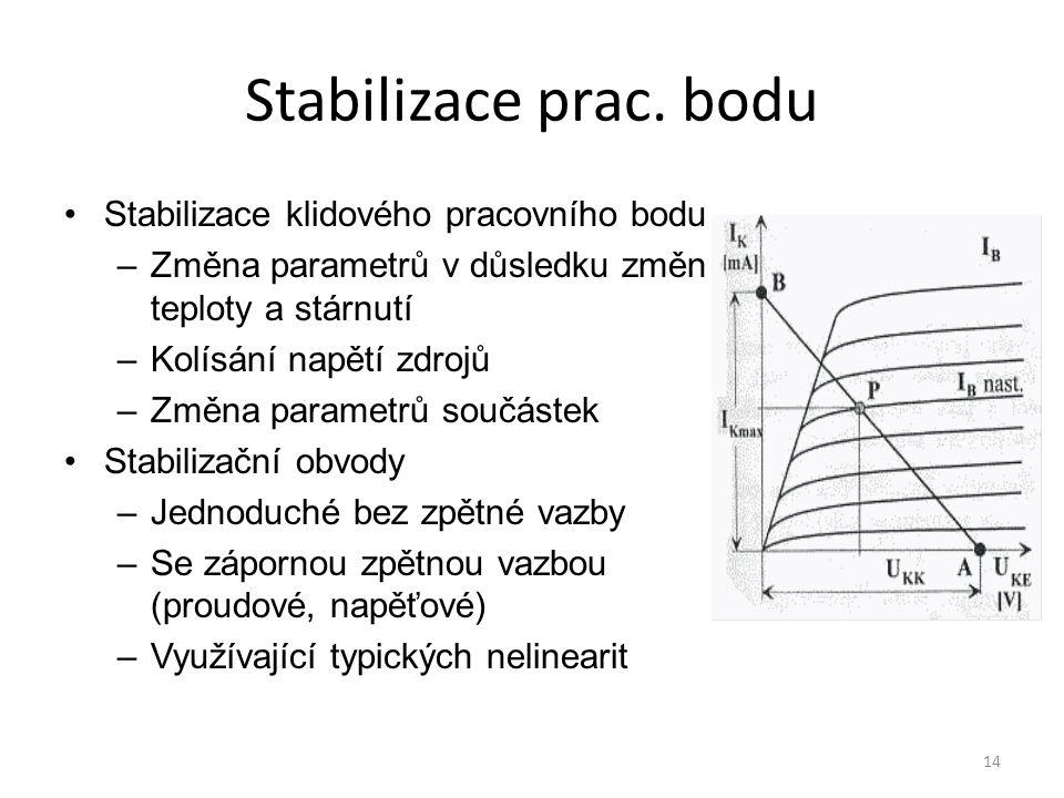 14 Stabilizace prac. bodu Stabilizace klidového pracovního bodu –Změna parametrů v důsledku změn teploty a stárnutí –Kolísání napětí zdrojů –Změna par