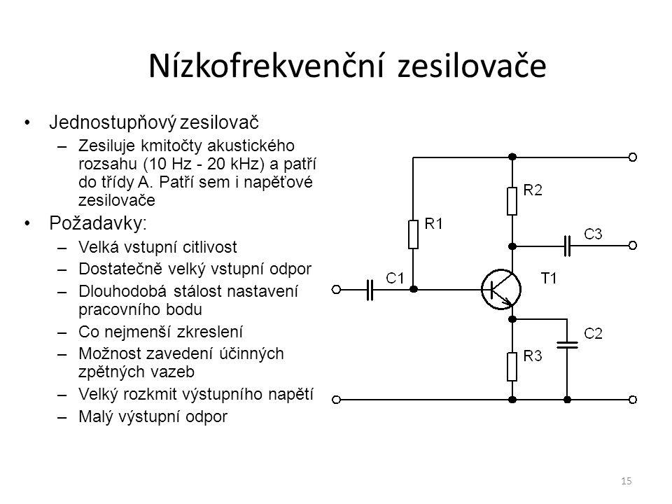 15 Nízkofrekvenční zesilovače Jednostupňový zesilovač –Zesiluje kmitočty akustického rozsahu (10 Hz - 20 kHz) a patří do třídy A. Patří sem i napěťové