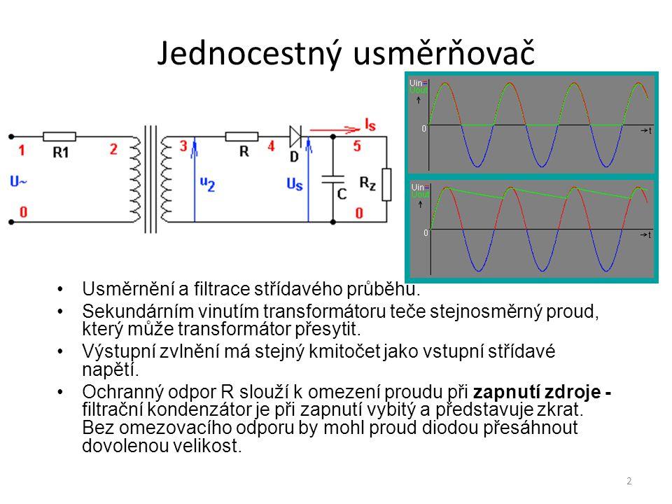 43 Sumátor (sčítací zesilovač) U out = -(U in1 +U in2 +U in3 ) Sumátor s váhovými koeficienty U out = (U in1.R 2 /R 1 +U in2.R 2 /R 3 +U in3.R 2 /R 4 ) Odečítání signálů U out = U in1 -U in2 (pro R 2 =R 1, R 3 =R 4 )