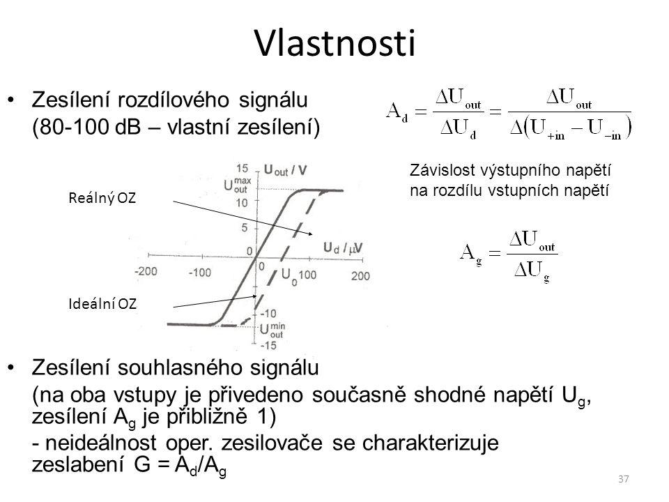 37 Vlastnosti Zesílení rozdílového signálu (80-100 dB – vlastní zesílení) Zesílení souhlasného signálu (na oba vstupy je přivedeno současně shodné nap