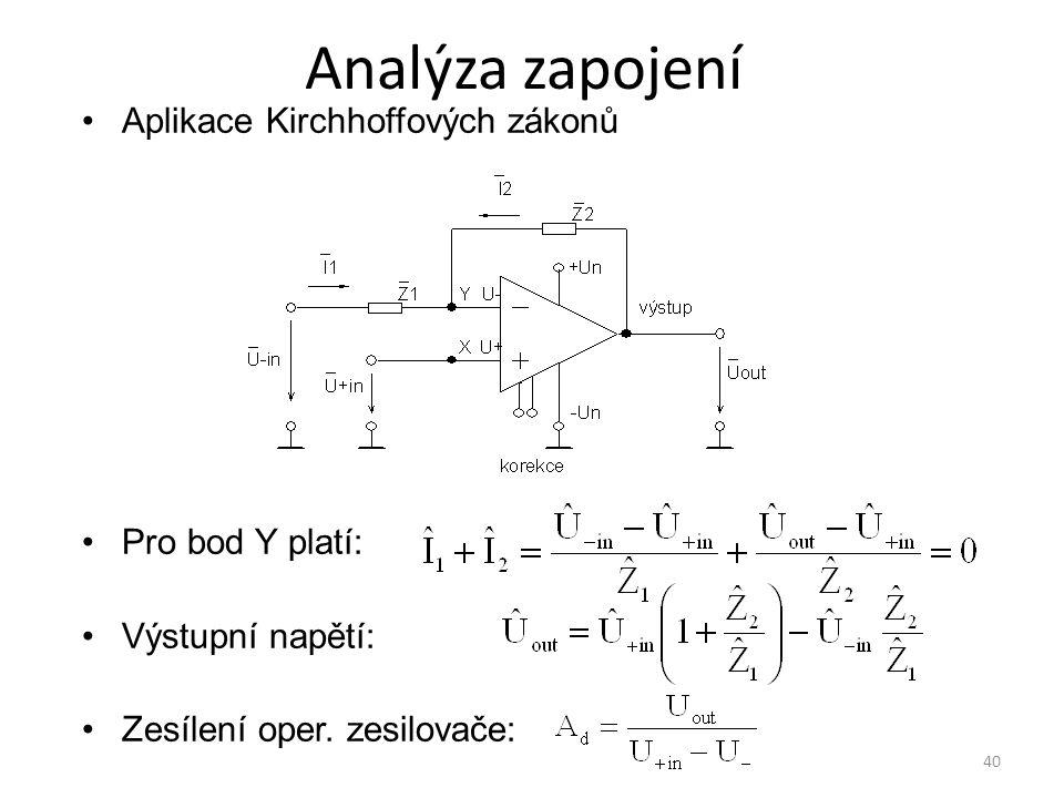 40 Analýza zapojení Aplikace Kirchhoffových zákonů Pro bod Y platí: Výstupní napětí: Zesílení oper. zesilovače: