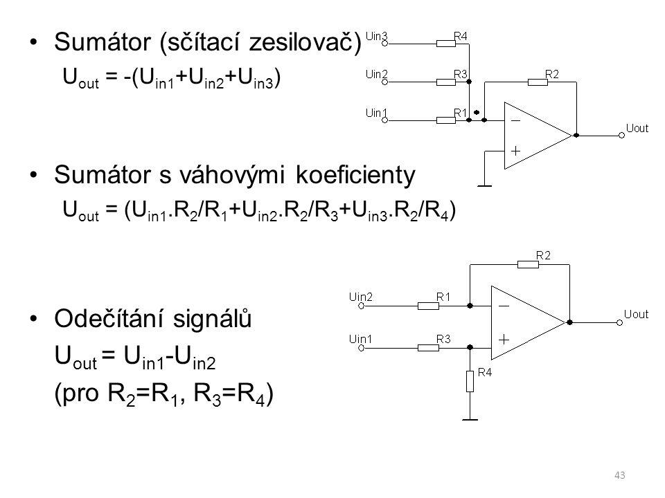 43 Sumátor (sčítací zesilovač) U out = -(U in1 +U in2 +U in3 ) Sumátor s váhovými koeficienty U out = (U in1.R 2 /R 1 +U in2.R 2 /R 3 +U in3.R 2 /R 4