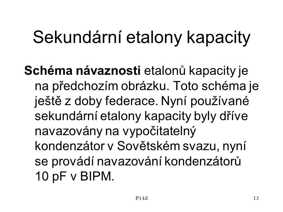 P14d13 Sekundární etalony kapacity Schéma návaznosti etalonů kapacity je na předchozím obrázku. Toto schéma je ještě z doby federace. Nyní používané s